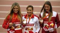 2015. gada pasaules čempionāta pjedestāls: Brianna Teisena-Ītone, Džesika Enisa-Hila, Laura Ikauniece-Admidiņa  Foto: AP/Scanpix