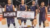 """""""Ghetto Basket"""" 24. maija Pro grupas uzvarētāji """"LSA"""" (no kreisās): Armands Seņkāns, Nauris Metnieks, Toms Straudovskis un Artūrs Kramiņš Publicitātes foto"""