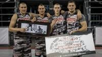 """5. jūlija """"Quest"""" posmā uzvarēja """"Ghetto Basket"""" (no kreisās) - Edgars Krūmiņš, Mārtiņš Šteinbergs, Nauris Miezis, Agnis Čavars Publicitātes foto"""