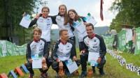 Latvijas stafešu komandas pēc piektās un sestās vietas 2017. gada pasaules čempionātā Foto: Latvijas Orientēšanās federācija