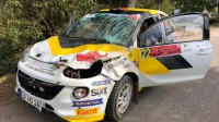 Mārtiņa Seska automašīna pēc avārijas. Ekipāžas foto