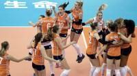 Nīderlandes volejbolistes priecājas par uzvaru pār ASV. Foto: EPA/Scanpix