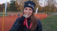 Sandra Grosberga pēc triumfa Latvijas čempionātā. Foto: Mareks Gaļinovskis
