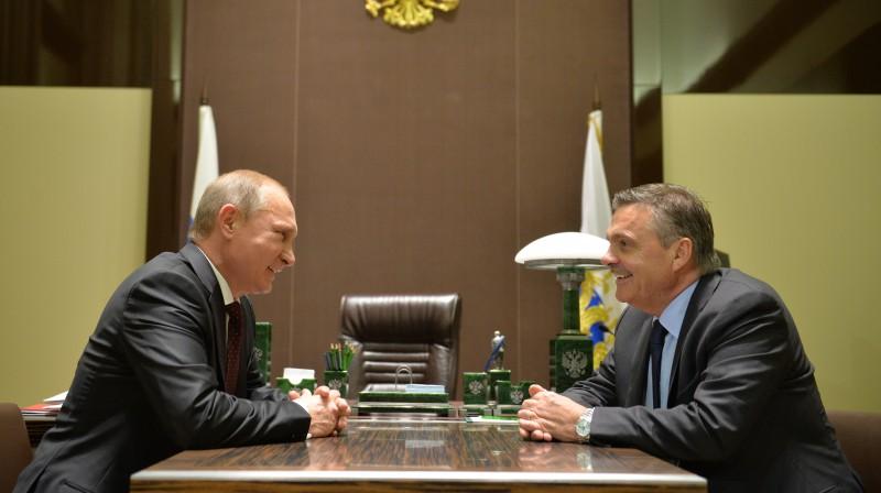 Vladimirs Putins un Renē Fāzels. Foto: Tass/Scanpix
