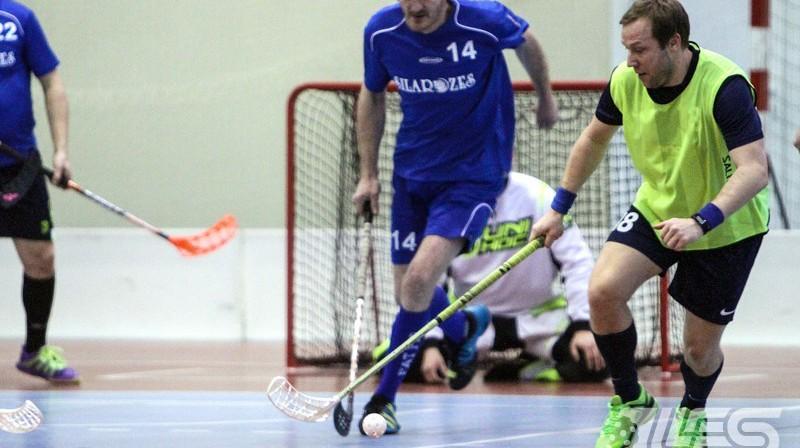 Eriks Akulovs ir turnīra pārliecinoši rezultatīvākais Foto: Floorball.lv