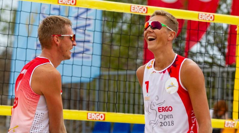 Matīss Gabdulļins un Mihails Samoilovs. Foto: Vadims Morozovs, Latvijas Volejbola fed.