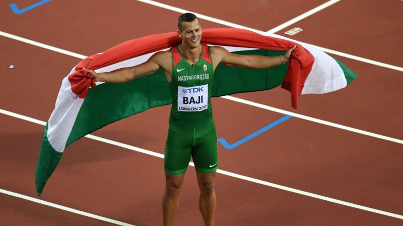 Aktuālais pasaules bronzas ieguvējs 110 metru barjerskrējienā ungārs Balāzs Baji. Foto: AFP / Scanpix