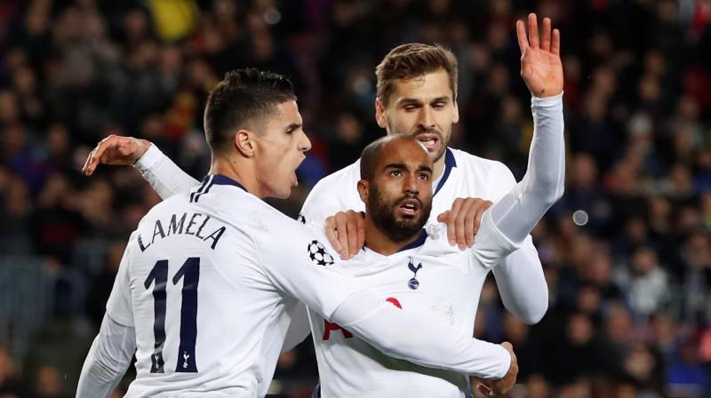 """Tottenham"" futbolisti. Foto: Reuters/Scanpix"