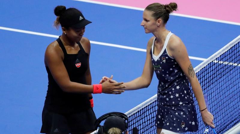 """Vai Karolīna Pliškova apturēs Naomi Osakas 12 uzvaru sēriju """"Grand Slam"""" mačos? Foto: Reuters/Scanpix"""