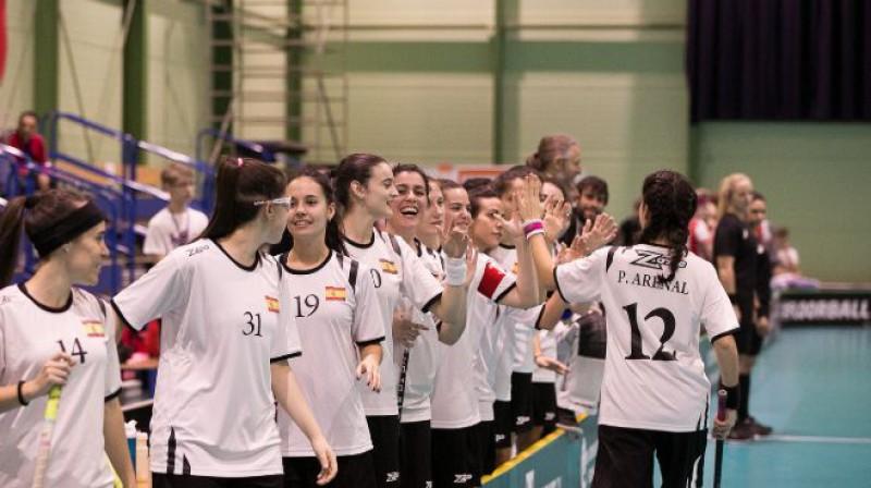 Spānijas izlase mačā pret austrietēm veica varenu atspēlēšanos, izraujot neizšķirtu Foto: IFF Floorball