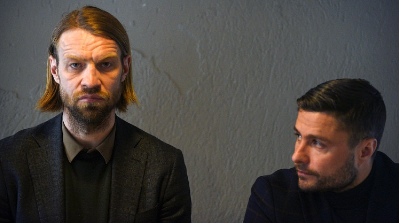 Kaspars Gorkšs un Māris Verpakovskis. Foto: Romāns Kokšarovs (f64).