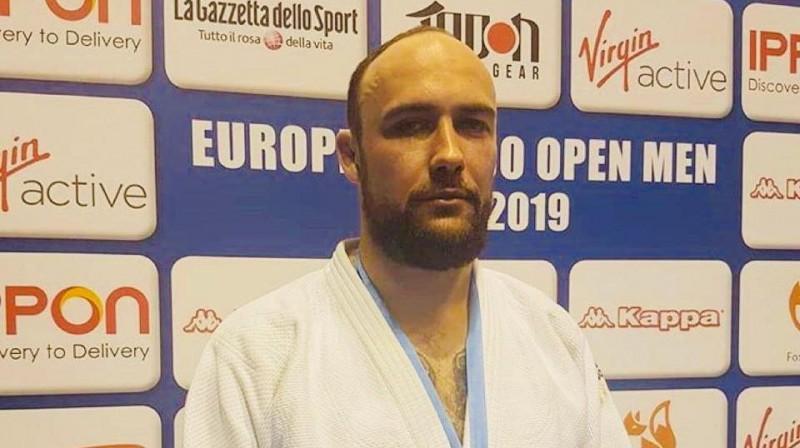 Jevgēņijs Borodavko pēc trešās vietas Eiropas kausa posmā Romā. Foto: Latvijas Džudo federācija