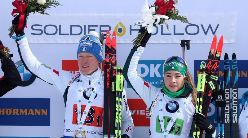 Lūkass Hofers un Doroteja Vīrere Foto: EPA/GEORGE FREY