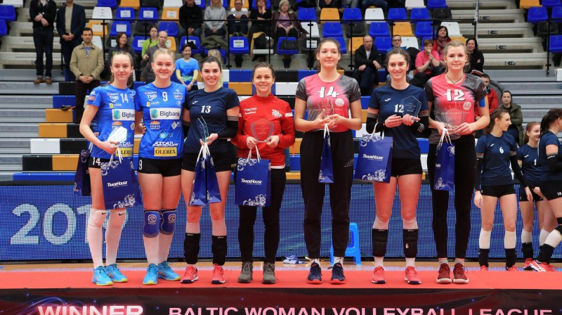 FF labākie: Marta Kamēlija Levinska (1. no l.) un Irbe Andike Lazda (3. no l.) Foto: facebook/volleyee