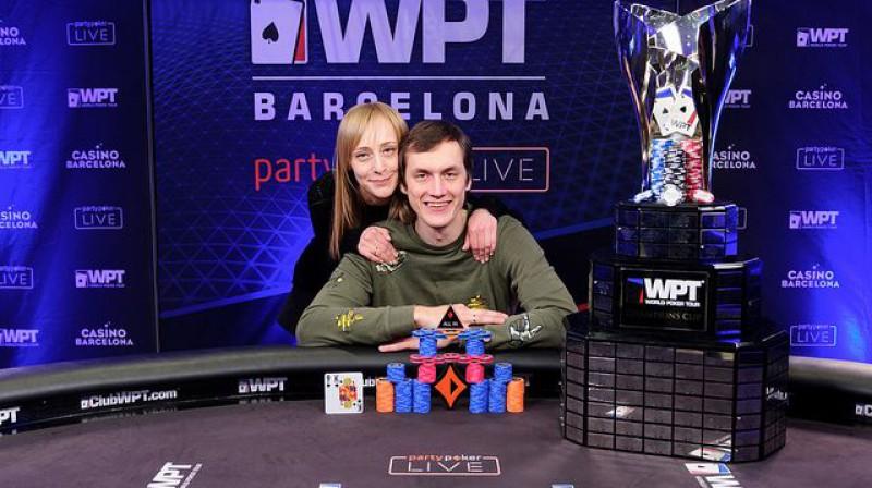 Vitālijs Zavorotnijs ar sievu pēc triumfa Barselonā. Foto: World Poker Tour