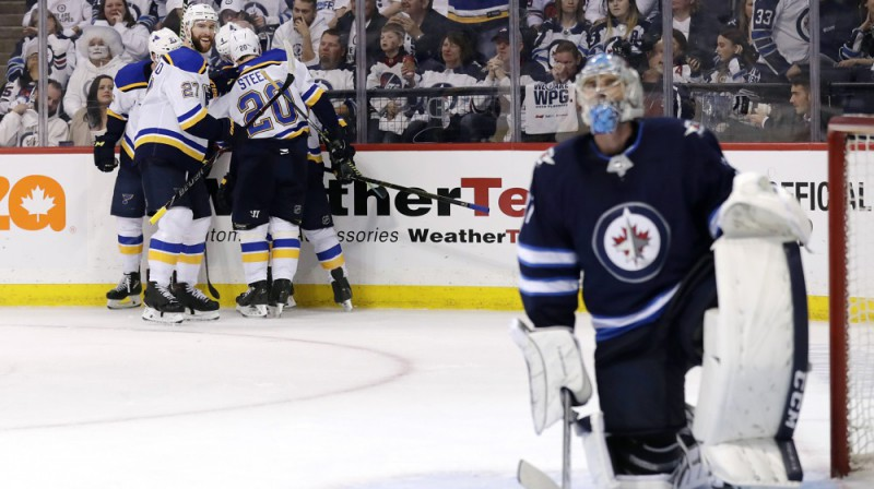 """Blues"" pēc uzvaras vārtu guvuma. Foto: USA Today Sports/Scanpix"