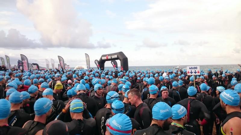 """""""Ironman 70.3"""" sacensību Grieķijā starts. Foto no Artūra Dedža personīgā arhīva"""