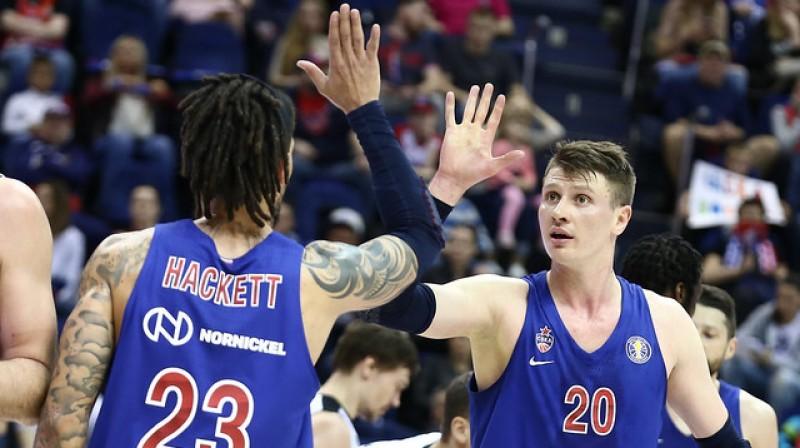CSKA basketbolisti Daniels Hakets un Andrejs Voroncevičs. Foto: VTB līga