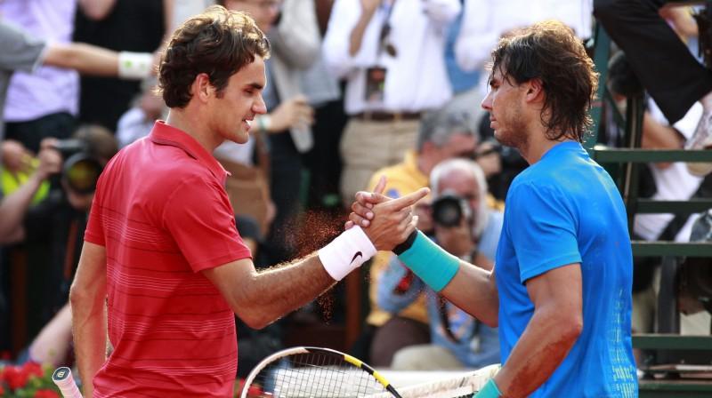 """Rodžers Federers un Rafaels Nadals """"French Open"""" pēdējoreiz tikās 2011. gadā. Foto: Reuters/Scanpix"""
