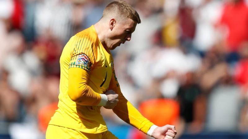 Anglijas izlases vārtsargs Džordans Pikfords. Foto: Reuters/Scanpix