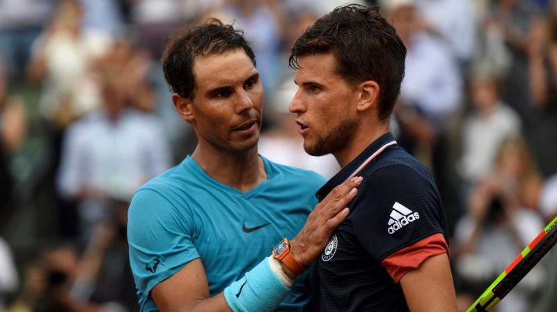 """""""Tavs laiks pienāks, taču ne tagad,"""" Rafaela Nadala iespējamais vēstījums Dominikam Tīmam pēc pagājušā gada fināla. Vai šodien būs tāpat? Foto: AFP/Scanpix"""