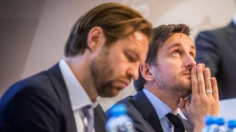 Kaspars Gorkšs un Edgars Pukinsks LFF kongresā. Foto: LFF