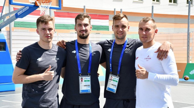 Latvijas 3x3 basketbolisti Eiropas spēlēs. Foto: twitter.com/basketbols