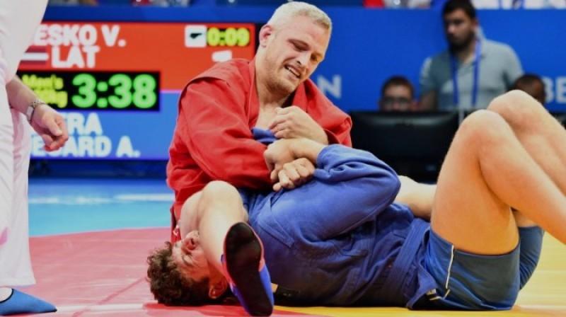 Viktors Reško Eiropas spēļu pusfināla cīņā. Foto: olimpiade.lv