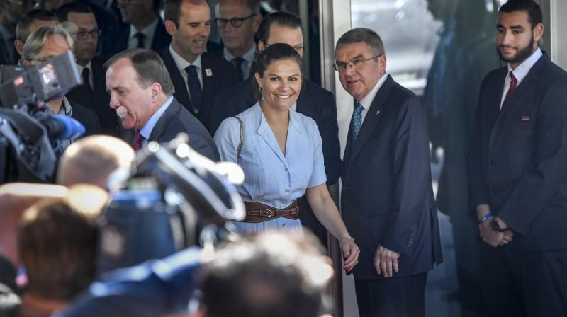 Zviedrijas kroņprincese Viktorija un Starptautiskās Olimpiskās komitejas prezidents Tomass Bahs. Foto: TT News Agency/Scanpix