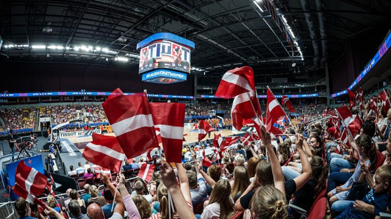 Arēnas tribīnes Eiropas čempionāta laikā. Foto: FIBA