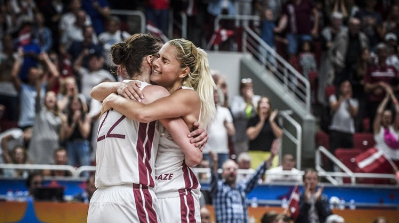 Zenta Meļņika un Elīna Dikeulaku pēc uzvaras pār Ukrainu. Foto: FIBA