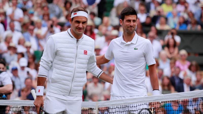 Rodžers Federers un Novaks Džokovičs. Foto: Reuters/Scanpix