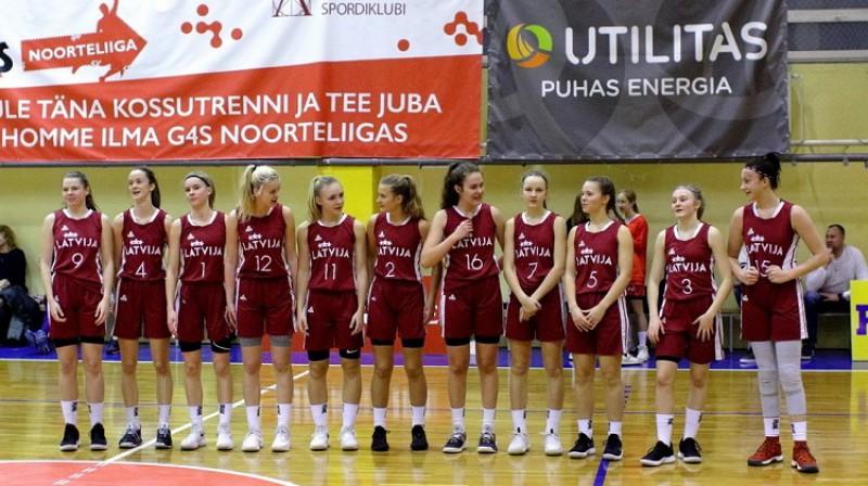 Latvijas U16 meitenes janvārī Tallinā. Foto: Siim Semiskar, basket.ee