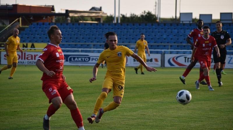 """Andrejs Kiriļins (nr. 99) pārbaudes spēlē pret """"Wigry Suwalki"""". Foto: FK """"Palanga"""""""
