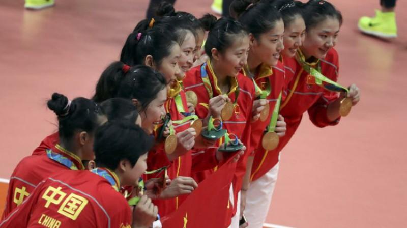 Ķīnas volejbola izlase ar Rio zelta medaļām. Foto: Reuters/Scanpix