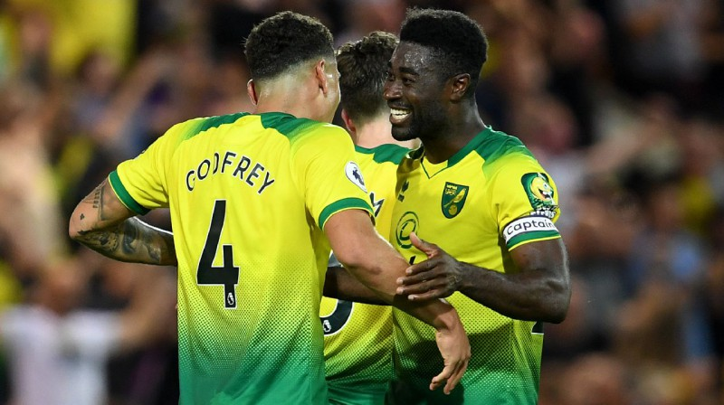 """Norwich"" futbolisti līksmo pēc uzvaras pār ""Man City"". Foto: PA Wire / Scanpix"