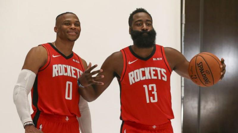 Rasels Vestbruks un Džeimss Hārdens. Foto: USA TODAY Sports/Scanpix