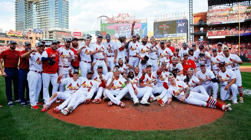"""Sentluisas """"Cardinals"""" pēc uzvaras Nacionālās līgas Centrālajā divīzijā Foto: USA Today/Scanpix"""