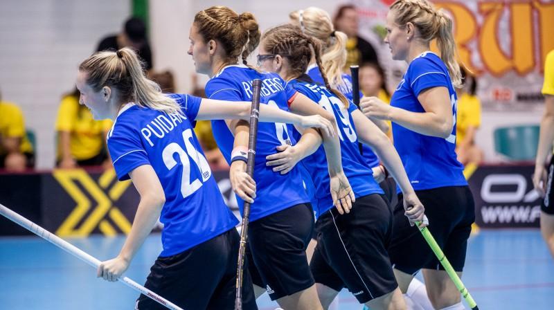 Igaunijas sieviešu izlase. Foto: Raivo Sarelainens, floorball.lv