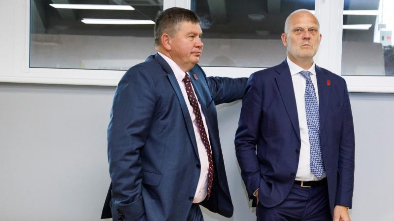 LHF prezidents Aigars Kalvītis un ģenerālsekretārs Viesturs Koziols Latvijas hokeja saimniecību vada jau trīs gadus. Foto: Ģirts Ozoliņš/f64