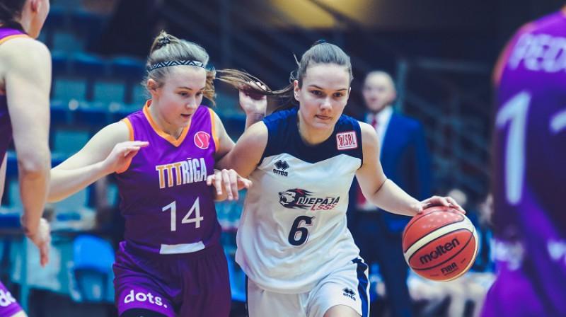 Ketija Vihmane: 23 punkti uzvarā pār Igaunijas čempioni. Foto: Ģirts Gertsons