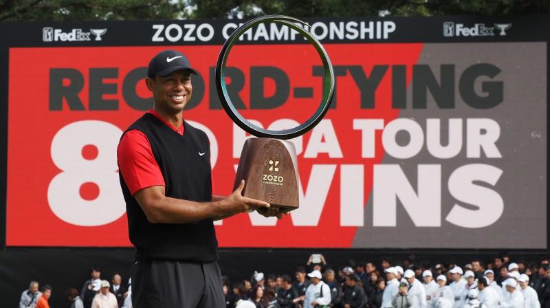 Taigers Vudss ar 82. PGA titulu. Foto: AFP/Scanpix