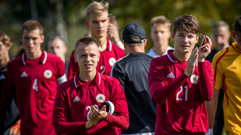 Latvijas U17 izlases futbolisti / Foto: Nora Krevņeva-Baibakova