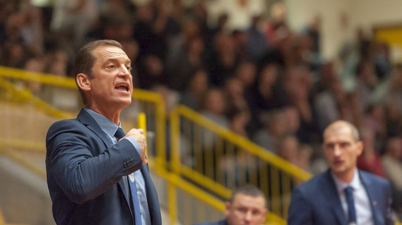 """Gundars Vētra un """"Arka Gdynia"""": pirmā uzvara FIBA Eirolīgā kopš 2012. gada 25. janvāra. Foto: FIBA"""