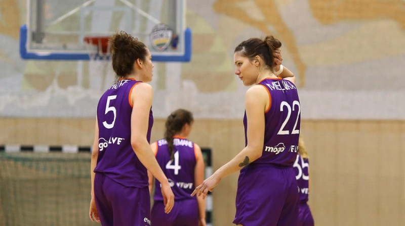 TTT spēlētājas Megana Hafa un Zenta Meļņika 2019. gada 9. novembrī Šauļos. Foto: moterulyga.lt