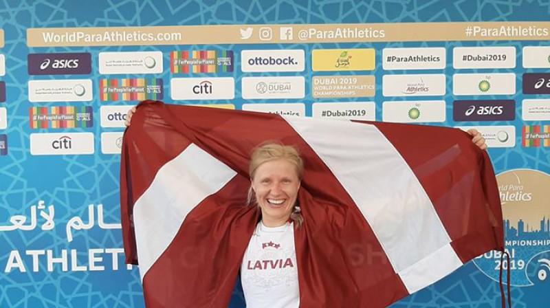 Diāna Dadzīte triumfē Dubaijā. Foto: Latvijas Paralimpiskā komiteja