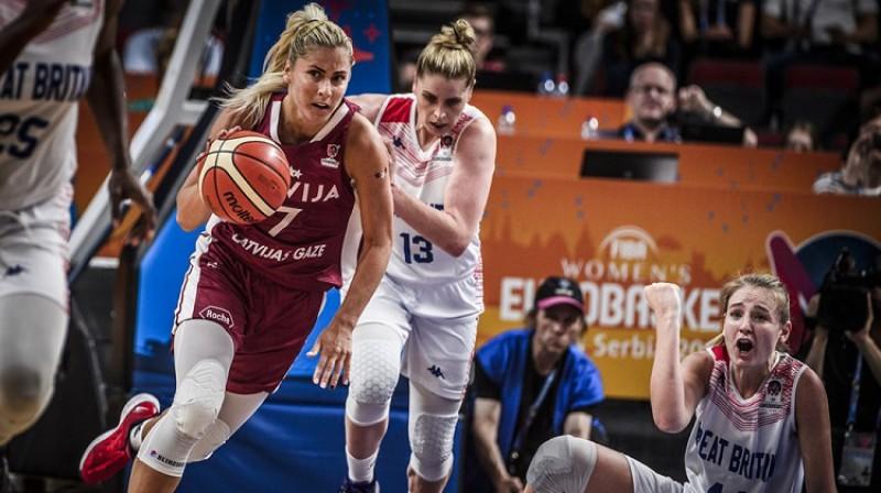 Elīna Dikeulaku Eiropas čempionāta spēlē pret Lielbritāniju. Foto: Romāns Kokšarovs/Mikus Kļaviņš