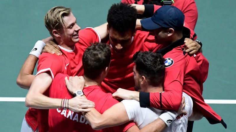Kanādas Deivisa kausa komanda līksmo par iekļūšanu finālā. Foto: AFP/Scanpix
