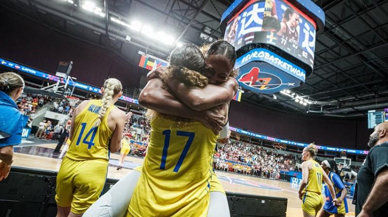 Zviedrijas basketbolistes 2019. gada Eiropas čempionātā Rīgā. Foto: FIBA