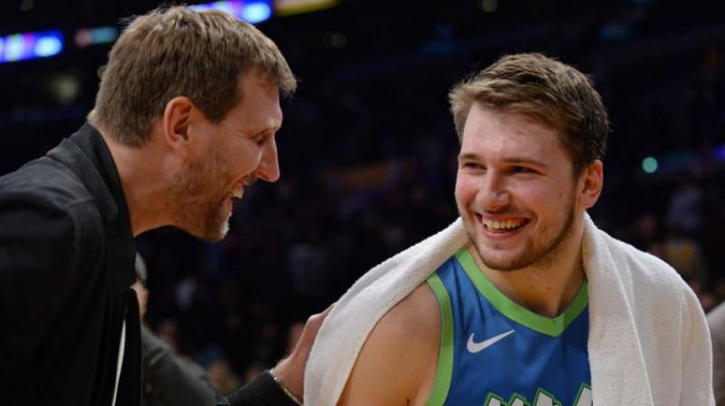 Dirks Novickis un Luka Dončičs. Foto: USA Today Sports/Scanpix